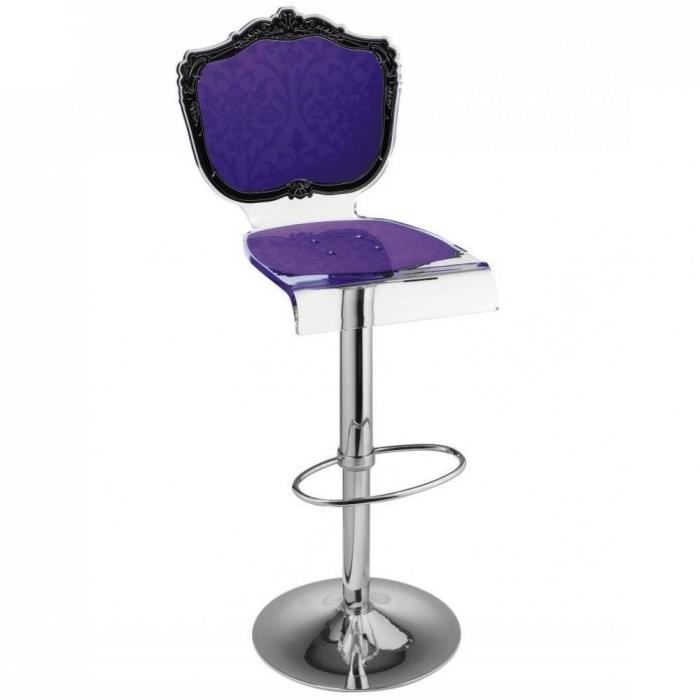 tabouret chaise de bar baroque violet plexiglass a achat. Black Bedroom Furniture Sets. Home Design Ideas