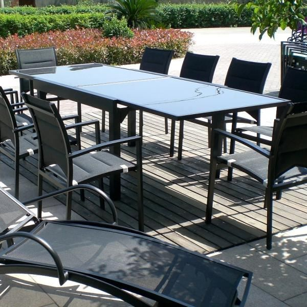 Table modulo grise 6 10 personnes achat vente table de for Table jardin 8 personnes