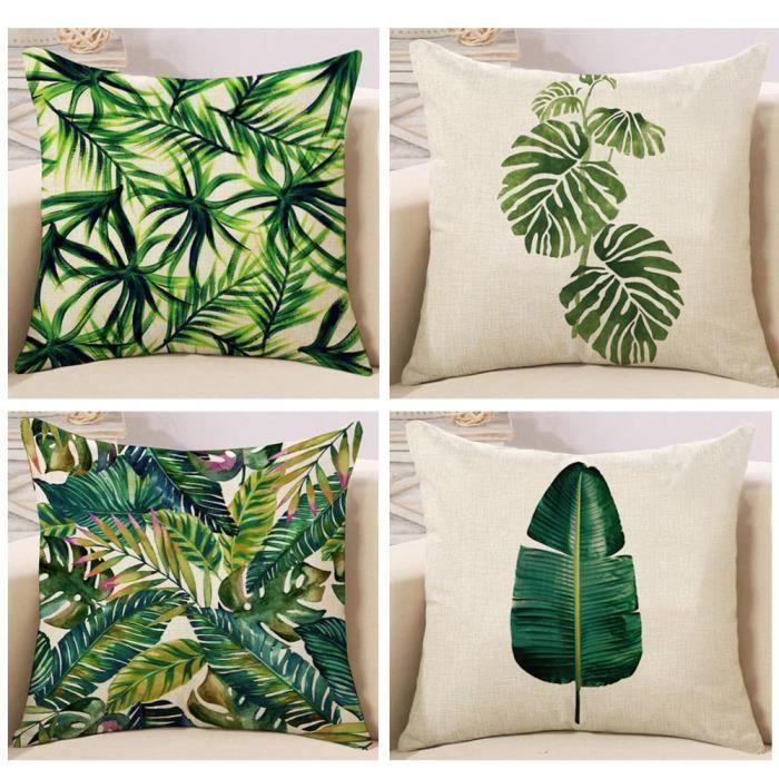 Coton Lin plantes vertes Taie d/'oreiller canapé taille Housse de Coussin Décoration d/'intérieur
