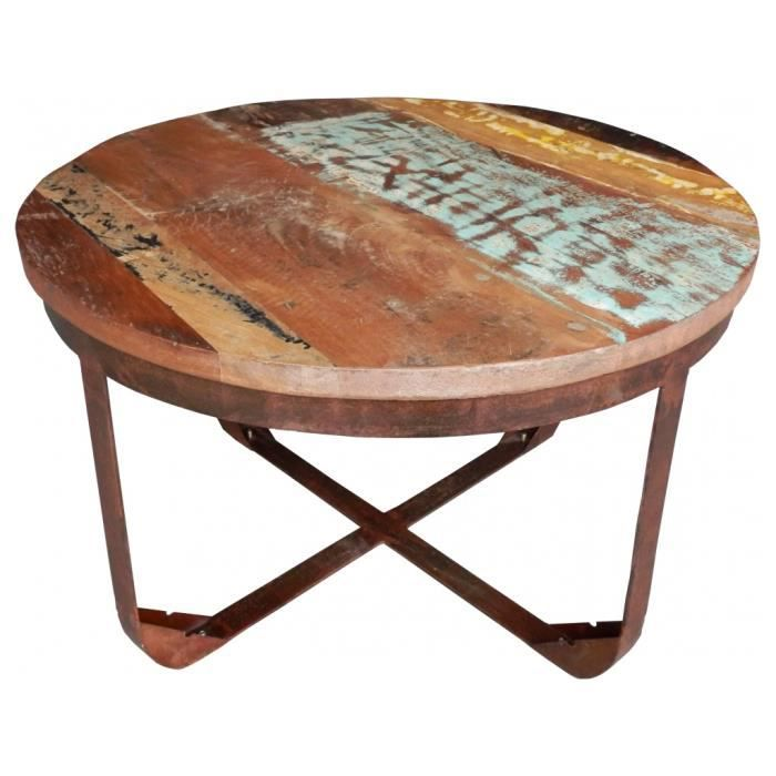 table basse ronde m tal et bois recycl couleur achat. Black Bedroom Furniture Sets. Home Design Ideas