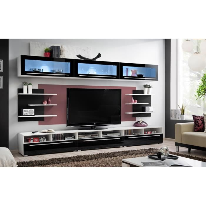 Meuble de salon tv cristo complet design led achat vente salon complet - Salon complet design ...