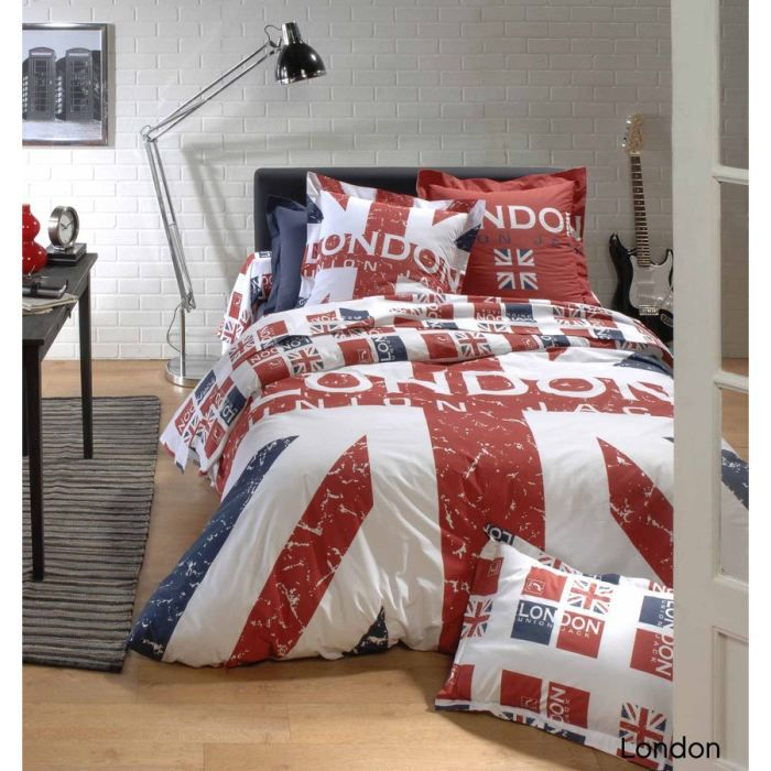 housse de couette 240x220cm 100 coton london union jack. Black Bedroom Furniture Sets. Home Design Ideas