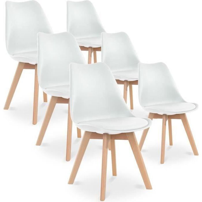 lot de 6 chaises style scandinave catherina blanc achat. Black Bedroom Furniture Sets. Home Design Ideas