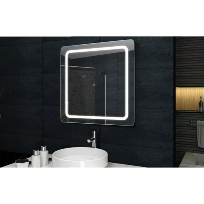 miroir salle de bain led 60x60cm achat vente miroir salle de bain cdiscount. Black Bedroom Furniture Sets. Home Design Ideas