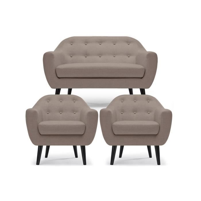ensemble canap 2 places 2 fauteuils taupe empoli. Black Bedroom Furniture Sets. Home Design Ideas