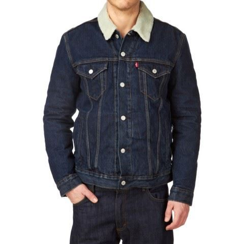 veste levi 39 s sherpa trucker bleu achat vente veste. Black Bedroom Furniture Sets. Home Design Ideas