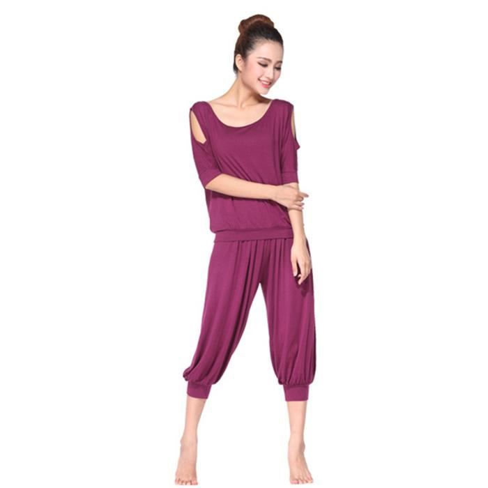 mimode ensemble v tement de yoga femme tenue de sport danse fitness t shirt pantalon rouge rouge. Black Bedroom Furniture Sets. Home Design Ideas