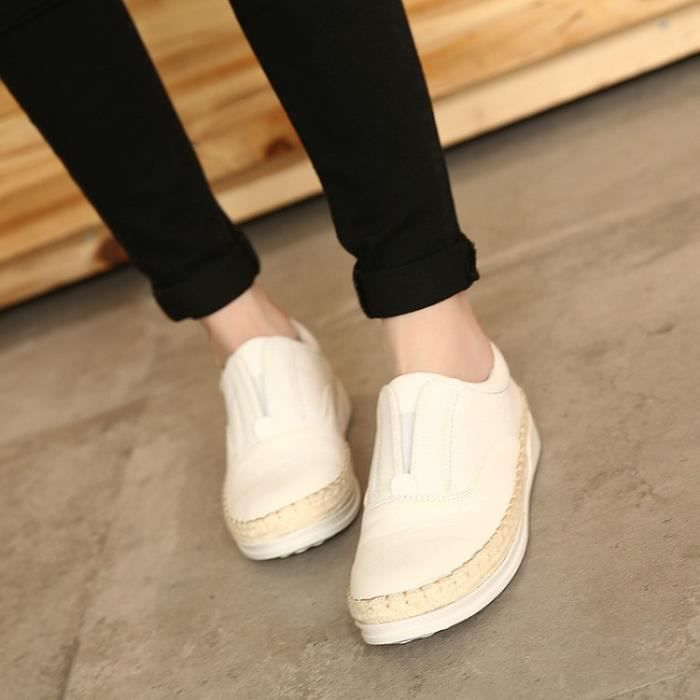 baskets-Femmes Pure Couleur Low Heel Sneakers t...