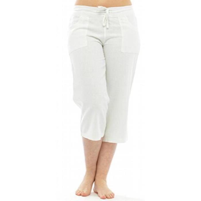 Corsaire en lin avec taille /élastique pour femme