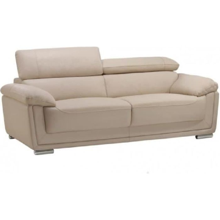 canap 3 places cuir de vachette mishka beige achat vente canap sofa divan cdiscount. Black Bedroom Furniture Sets. Home Design Ideas