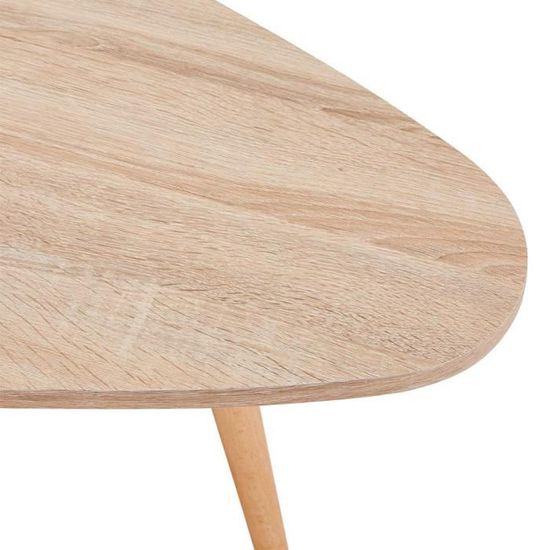 GOLDFAN Table Basse Bois Moderne Lot de 2 Table Basse Gigognes Triangulaire pour Salon Marron Table dappoint Design Scandinave Bureau