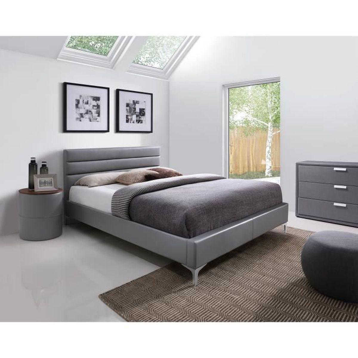 Chambre A Coucher Adulte price factory - lit adulte design gris thomas 140x200 cm