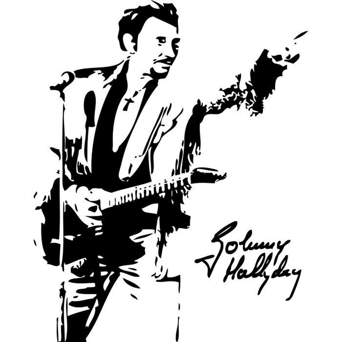 Sticker johnny hallyday 101 57x71 cm achat vente for Miroir johnny hallyday