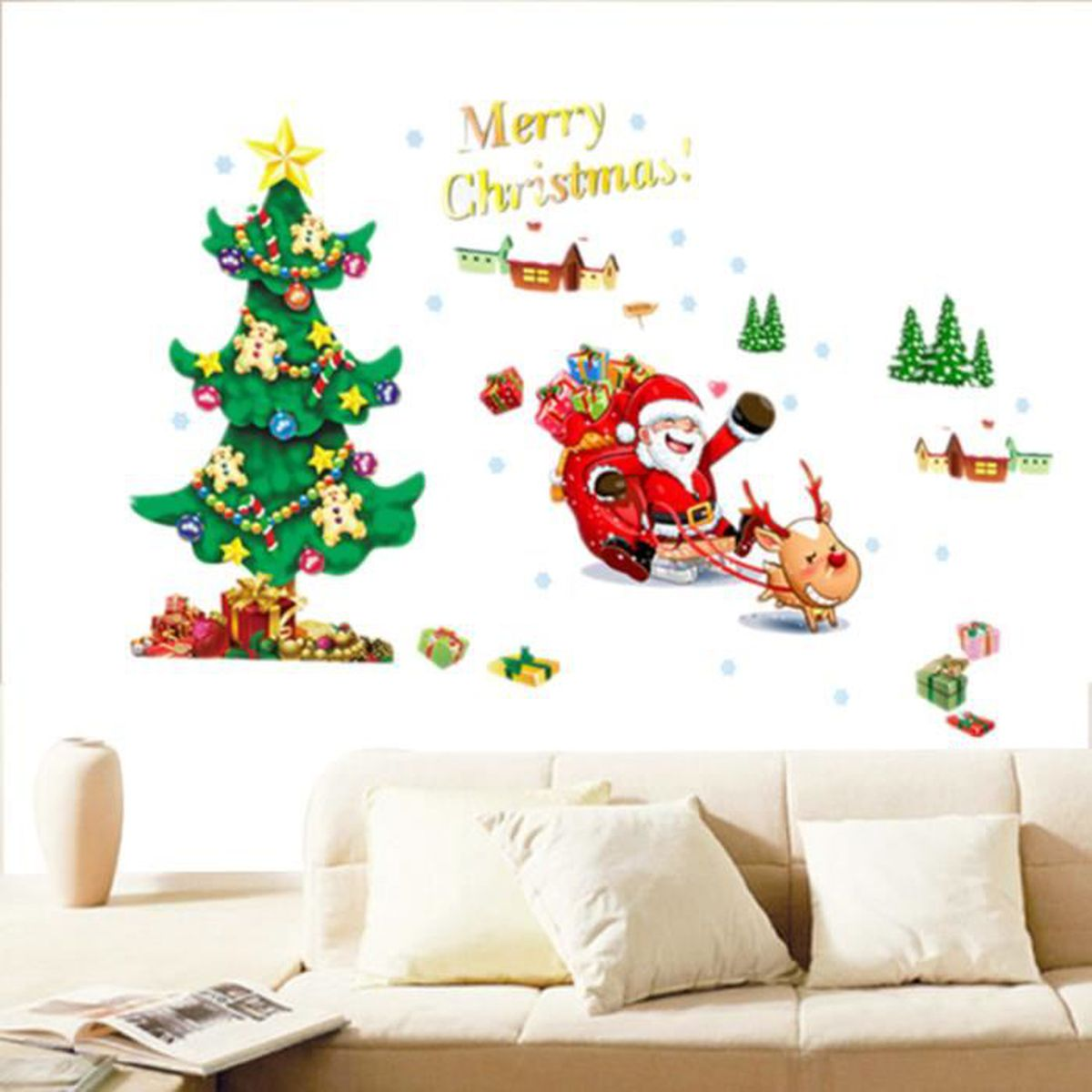 le p re no l arbre sapin sticker mur autocollant mural pour decor f te vitrine achat vente. Black Bedroom Furniture Sets. Home Design Ideas