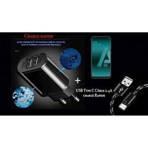 CHARGEUR TÉLÉPHONE Chargeur OI avec cable USB Type-C Noir Samsung Gal