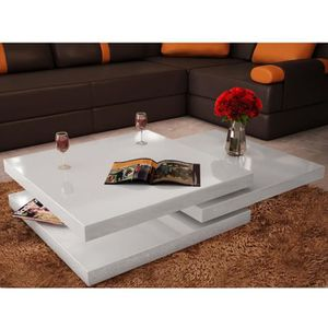 TABLE BASSE Table basse 3 étagères Blanc brillant design uniqu 2715d6cf1336
