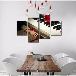 TABLEAU - TOILE 4 pieces Piano Rose Rouge Toile Mur Art Décoration