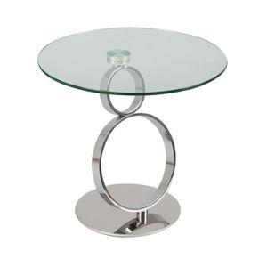 TABLE D'APPOINT Guéridon rond 60 cm en verre trempé - GLASS