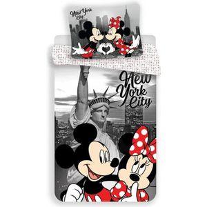HOUSSE DE COUETTE ET TAIES Minnie et Mickey New York - Parure de Lit Enfant -