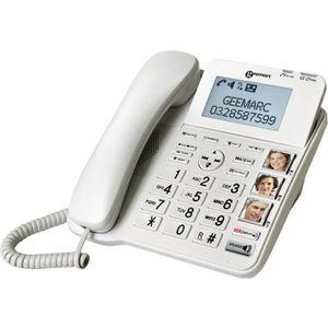 Téléphone fixe GEEMARC CL595 Téléphone fixe seniors amplifié, gro