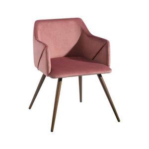 FAUTEUIL Lot de 2 fauteuils en tissu rose ELISA - L 54 x l