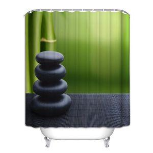 RIDEAU DE DOUCHE Rideau de douche Zen bambous galets latte de bambo