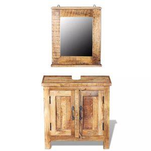 COLONNE - ARMOIRE SDB Meuble de salle de bain avec miroir Bois massif de