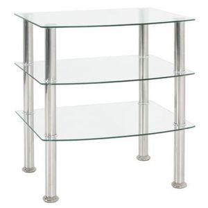 TABLE D'APPOINT Table d'appoint en acier inox-verre transparent -