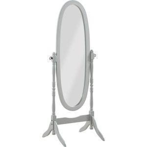 MIROIR SALLE DE BAIN Miroir sur pied, Psyché, miroir oval en bois gris
