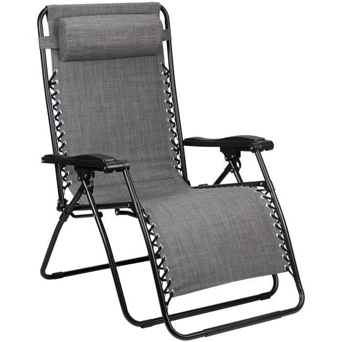 Abbey Camp chaise de camping Chaise Longue Rembourrage 90 x 75 x 112 cm gris