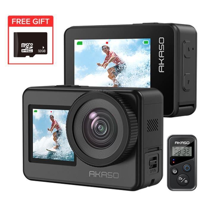 AKASO EK7000 Caméra Sport Etanche 4K WiFi Action Cam 30fps, Caméscope Ultra HD, Écran LCD, Angle 170°,19 Kits d'Accessoires - Bleu