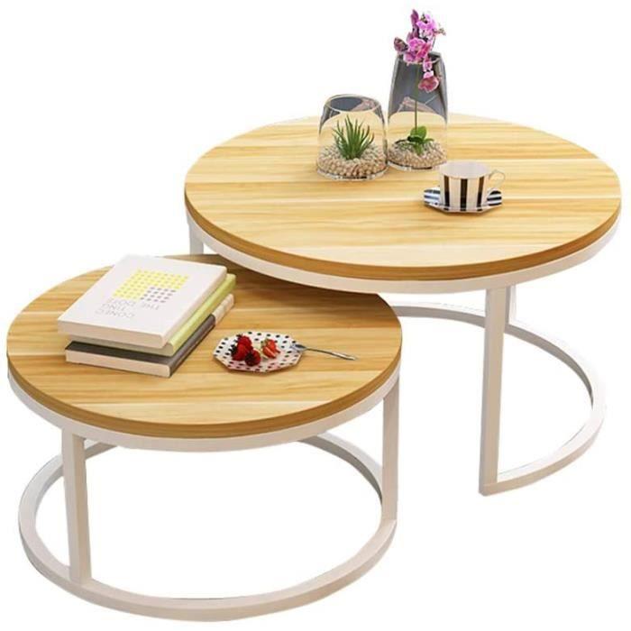 Lot de 2 Tables Basses Gigognes laquées Jaune Blanc, Table d'appoint Ronde Scandinave, Table Basse de Salon Moderne, Extensible[777]