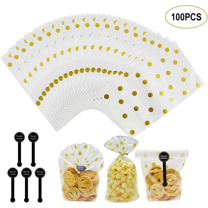 Lot de 100 Sachet pour Biscuit Sachets Biscuits Sachets Bonbons Sac Sachet Pochette de Biscuit avec Stickers,Sacs en Plastique Trans