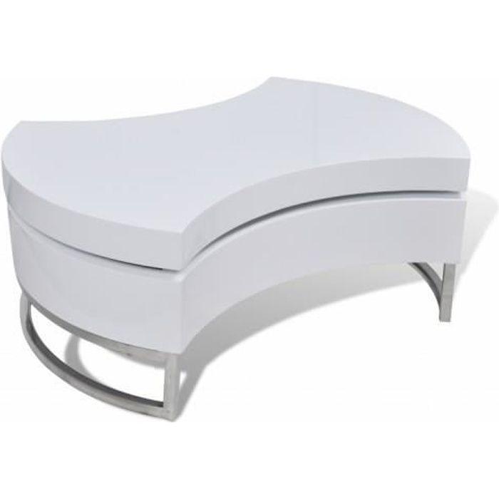 Tables basses Table basse pivotante en MDF blanche brillante laquee