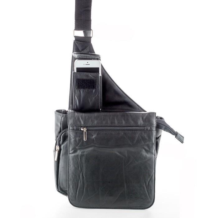 Sacs a main Sacoche holster multi-poches en cuir d agneau pour femme - Noir