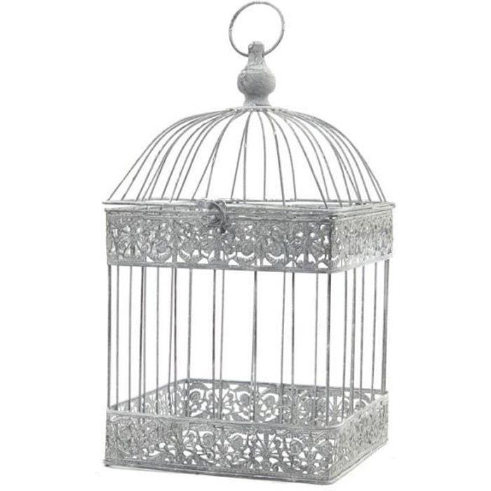 Cage à Oiseaux Carré Gris Fer de Décoration 47 cm x 24 cm x 24 cm - 11252-Cage