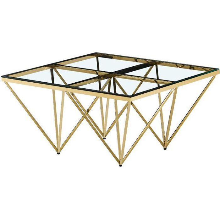 Table basse design carré en acier inoxydable poli doré et plateau en verre trempé transparent L. 80 x P. 80 x H. 42 cm collection