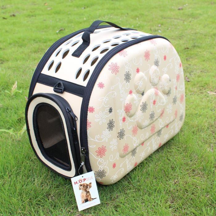 Sac pour animaux de compagnie Sac à dos pour chat Sac pour chien Sac pour animaux de compagnie EVA Sac d'emballage pliant-beige*CD