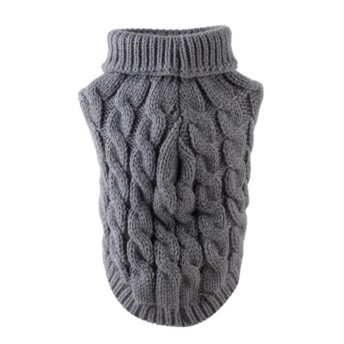 Pull Gilet,Pull tricoté pull hiver chaud chiot vêtements pour animaux de compagnie chien pull chien pull chien pull - Type Gris-XL