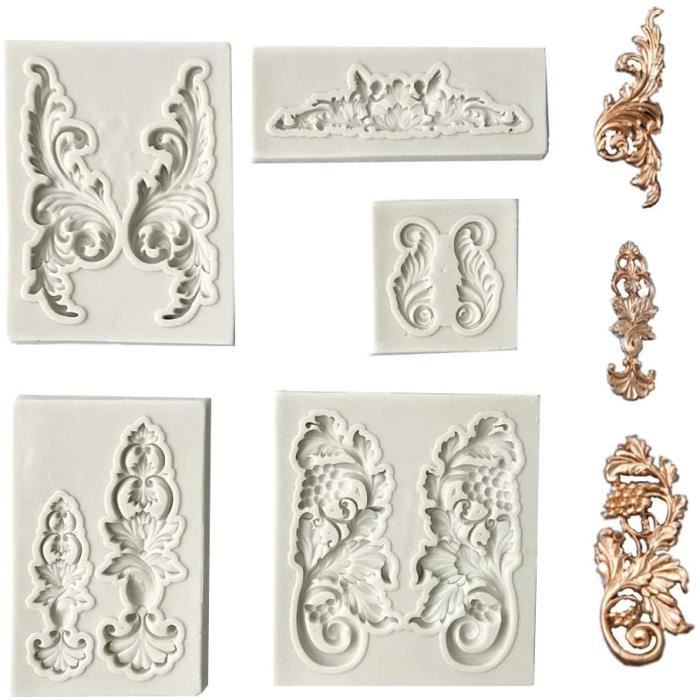 CAKE d 5 PCS Silicone Moule agrave Cake Fondant Style Baroque Curlicues Scroll Mould pour Sugarcraft Cake Border Decoration Cu560