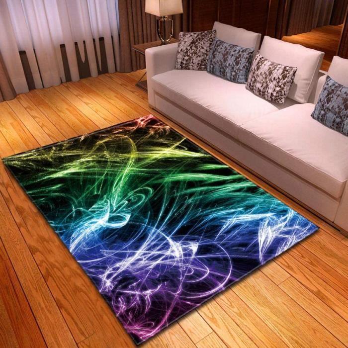Tapis de Sol de Couloir de Tapis 3D Abstrait coloré Tapis antidérapant de Salon Tapis de Sol Abstrait Tapis de Yoga 120X160cm[2445]