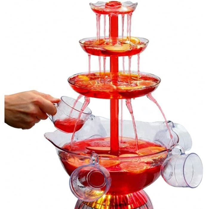 Fontaines Eau De Fte 3 Couches Machine Fontaine Vin De Table Fontaine Boissons Lumineuses Avec 15 Gallon 5 Tasses Rutili[5882]