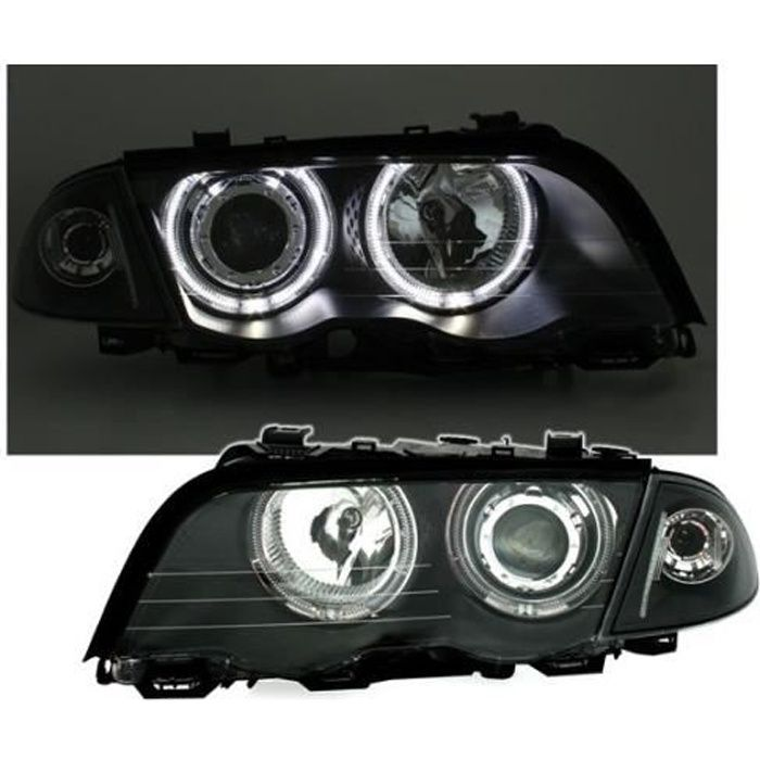 2 FEUX PHARE AVANT NOIR ANGEL EYES CCFL BMW SERIE 3 E46 BERLINE PHASE 1 DE 98 A 08/2001