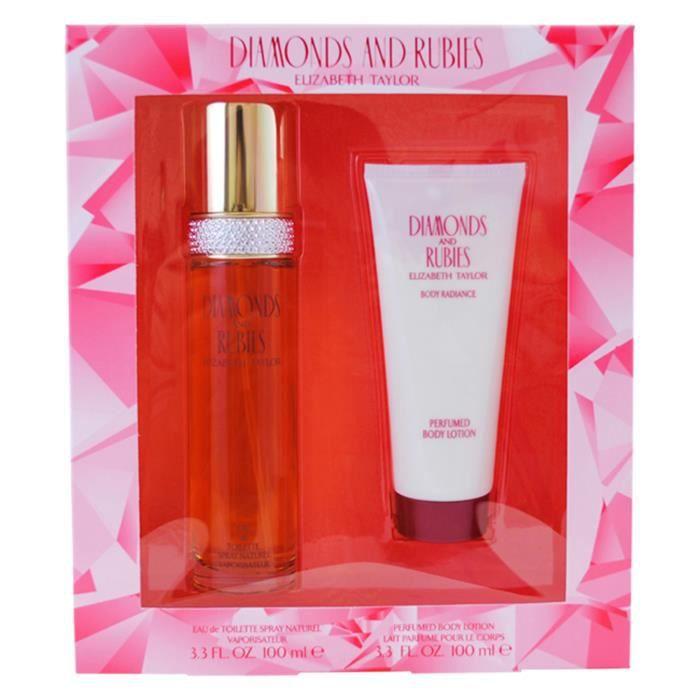 Diamonds and Rubies by Elizabeth Taylor for Women - 2 pc Gift Set 3.3oz edt Spray, 3.3oz perfumed body lotion