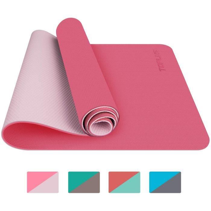Tapis de Yoga, Tapis Gym, Couleur Rose Clair, 183x61x0.6 cm, Tapis de Sol pour Sport, Fitness