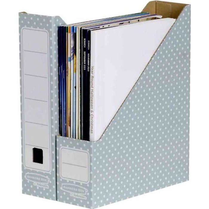 Lot de 10 STYLE Porte-revues Carton Dos de 81 mm Vert/blanc