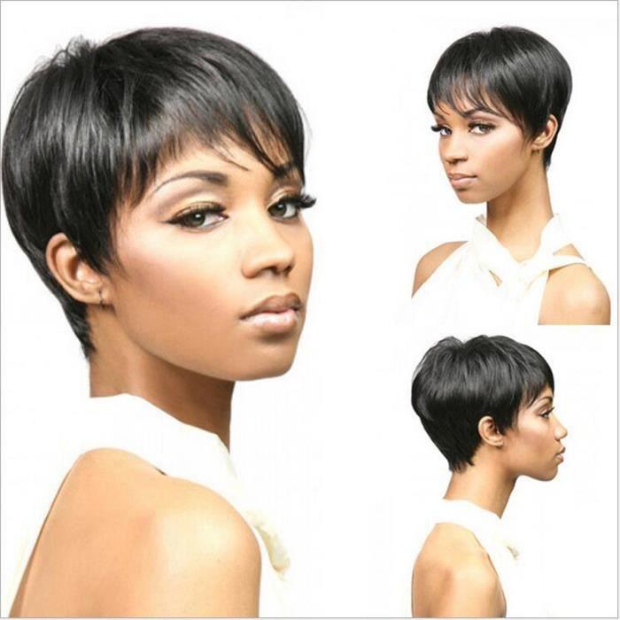 MCSAYS Fashion Perruque Cheveux Court Raide avec Frange Maquillage Femme Africaine Noir