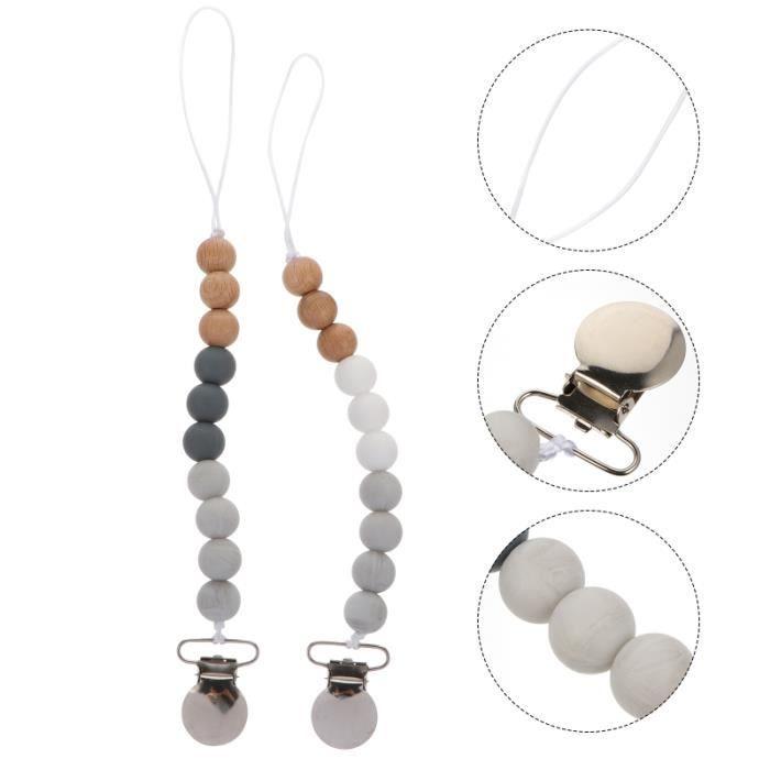 2pcs bébé attache tétine en bois enfants support de chaîne anti-perte perles sucette ACCESSOIRE - PIECE DETACHEE ROBOT BEBE