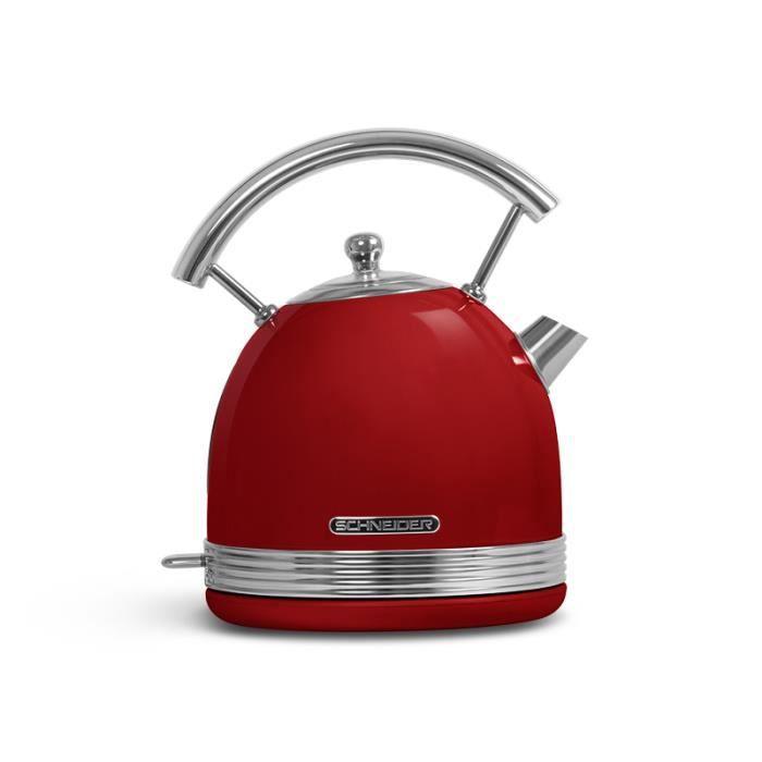 SCHNEIDER - SCKE17R - Bouilloire Vintage - 1,7 Litres - 2200 Watts - Socle Pivotant - Coloris Rouge