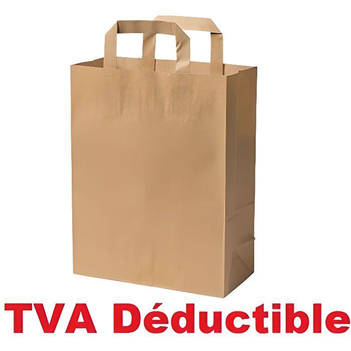 50 Petit Sac en Papier écologique kraft écru avec poignée 6 litres largeur 22 hauteur 28 soufflet 10 cm sac papier, cabas papier 80